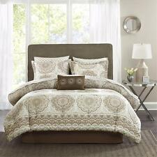 BEAUTIFUL MODERN ELEGANT BED IN BAG BROWN IVORY BEIGE TAUPE COMFORTER SET SHEETS