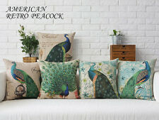 "Oriental Peacock Feather Flax Linen Pillow Case Decorative Cushion Cover 18""x18"""