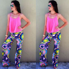Lady Tribal Floral Casual High Waist Wide Leg Long Pants Palazzo Trousers WI