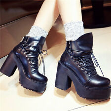 New Fashion Women High Platform Black Cow Leather Ankle Boots Punk Goth Creepers