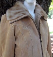 Excellent GUESS Suede Leather Western Faux Fur Lined Womens Jacket Small S Tan