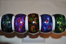 Wide Acrylic smooth finish Peacock Feather design assorted Colors cuff bracelet