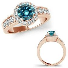 1.25 Carat Blue Diamond Solitaire Halo Wedding Bridal Ring Set 14K Rose Gold