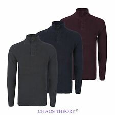 Mens Rib Knitted Jumper Ribbed Casual Raglan Sleeve High Buttoned Neck Pullover