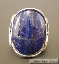 Handcrafted Sterling Silver Large Lapis Lazuli Wire Wrapped Ring