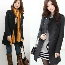 Womens Double-breasted Slim Winter Warm Trench Coat Jacket Overcoat Fashion Lady