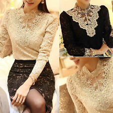 Fashion Women Summer Floral Top Long Sleeve Blouse Casual Tank Tops T-Shirt Lace