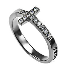 True Love Waits Ring Sideways Cross Purity, Christian Chastity Ceremony Steel