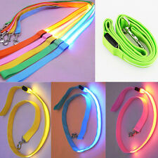 New 4 Color Pet Dog LED Flashing Harness  Lead Light Nylon Glow Leash Rope Belt