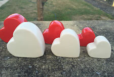 SET OF 3 CERAMIC RED CREAM HEART SCULPTURE WINDOW TABLE MANTEL ORNAMENT