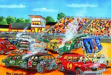 DEMOLITION DERBY ART PRINT Demo Short Track Racing Race Driver Car NASCAR Car