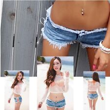 Sexy Girl Denim Jeans Clubwear Short Hot Pant Low Waist Cut-Off Side Straps Ties
