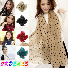 Fashion Polka Dot Girls Women Long Wrap Shawl Chiffon Stole Silk Scarf Scarves