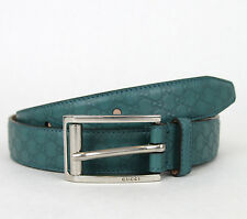NEW Authentic GUCCI Mens Guccissima Leather Belt Metal Buckle Teal 281798 4715