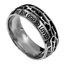 John 3:16 Crown of Thorns Ring, Stainless Steel with Christian Bible Verse