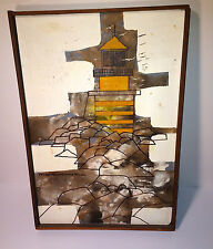 "Vintage ""Yellow Submarine"" Style Abstract Lighthouse Rocks, Oil Painting 1971!"