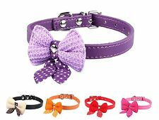PU Leather Pet Collar Knitted Bowknot Dog Puppy Grooming Necklace