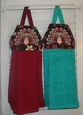 Peacocks Feathers Floral Hanging Kitchen Oven Hand Dishtowel Handmade by HCF&D