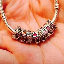 925 sterling Silver CZ Spacer European charms Bead for bracelet Snake Chain
