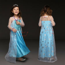 Kids Frozen Elsa Costume Girls Sequinned Princess Party Fancy Dress Age 3-7 Year