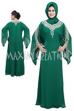 DUBAI CAFTAN FANCY GEORGETTE JILBAB JALABIYA MODERN WEDDING GOWN DRESS  5206