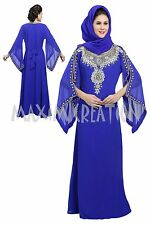 DUBAI CAFTAN FANCY GEORGETTE JILBAB JALABIYA MODERN WEDDING GOWN DRESS  5207