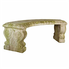 Curved Outdoor Garden Bench by Orlandi Statuary -Faux Concrete-Orlandi Statuary