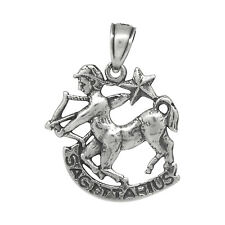 Sagittarius Pendant Charm Zodiac Sign Sterling Silver .925 Oxidized Made In USA