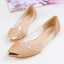 New Women Fashion Flats Ballerina Slippers Casual Slip On Shoes Faux Leather E