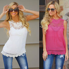 Sexy Women Vest Lace Shirt Casual Slim Fit Blouse Sleeveless Tops T-Shirt
