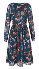 YUMI LADIES YOAD07 OWL AND FLOWER PRINT MIDI DRESS RRP £70 VAR SIZES