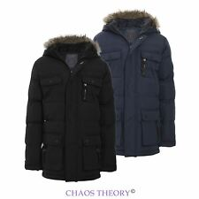 Boys Kids Back To School Parka Jacket Coat Fur Hooded Padded Quilted Age 7-13