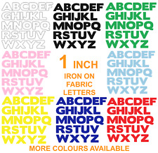 IRON ON FABRIC LETTERS!*NEW* ONE INCH SIZE * Multi Listing -12 Colours! Die Cut!