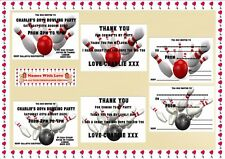 Personalised Bowling Birthday Party Invitations / Thank You Cards X 10 Pk + Env