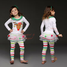 Baby Girls Christmas Costume Reindeer Top Tutu Tulle Skirt Pants Outfits Set HOT