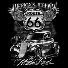 Americas Highway Route 66 The Mother Road Hot Rat Rod T-Shirt Tee