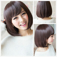 New Fashion Women Short Brown Straight Bob Hair Full Wig Cosplay Party Wigs