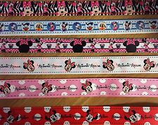 ✂️ 1m Pink White Red Minnie Mouse Mickey Polka Dot 22 and 25mm Grosgrain Ribbon