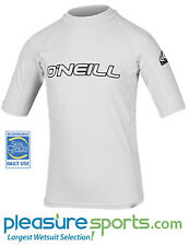 O'Neill Kids Rashguard Skins Short Sleeve 50+ UV Protection Rash Guard WHITE