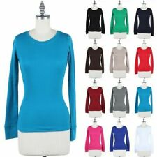 Basic Thermal Crew Neck Long Sleeve Knit Top Casual Cotton Stretchable S M L