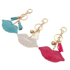 New Crystal Key Chain Rhinesote Sexy Lip Keychain Leather Alloy Rings