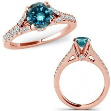 1.75 Carat Blue Diamond Split Shank Solitaire Bridal Ring Band 14K Rose Gold