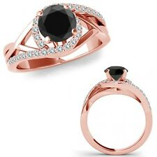 0.75 Carat Black Diamond Crossover By Pass Solitaire Ring Band 14K Rose Gold