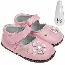 Girls Toddler Leather Soft Sole Baby Shoes Pink & Pink White Flower & Shoe Horn