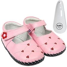 Girls Toddler Leather Soft Sole Baby Shoes Pink / Red Hearts & Shoe Horn