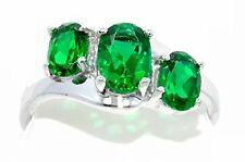 2 Ct Emerald Oval Ring .925 Sterling Silver