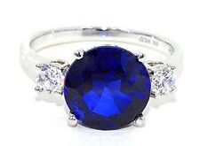 4 Ct Blue Sapphire & White Topaz Round Ring .925 Sterling Silver