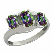 2 Ct Genuine Mystic Topaz Oval Ring .925 Sterling Silver