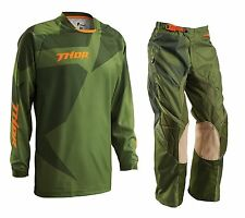 Thor NEW 2016 Mx Phase Cloak Green Forest Motocross Dirt Bike Offroad Gear Set
