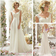 New White ivory Lace Bridal Gown Beach Wedding Dress Stock 4 6 8 10 12 14 16 18